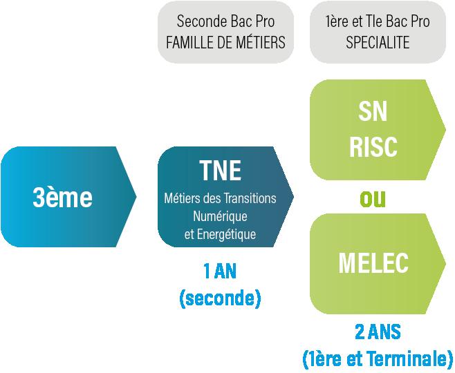 Famille de métiers TNE : l'orientation progressive à partir de la seconde Métiers des Transitions Numérique et Energetique